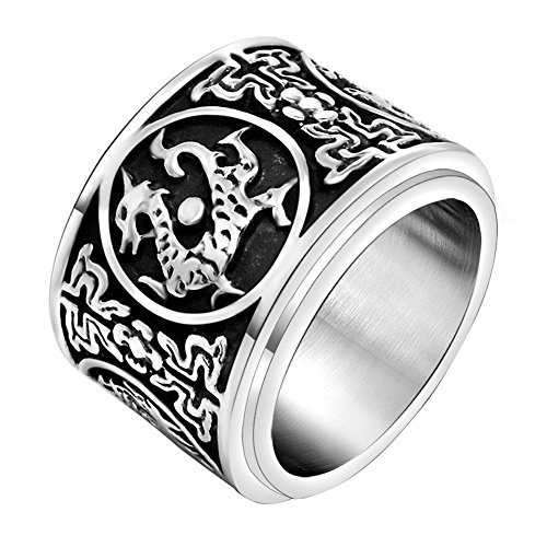 FANSING Costume Jewelry Halloween Gift Mens Stainless Steel Chinese Ancient Guardian Beast Spinner Rings Size 8