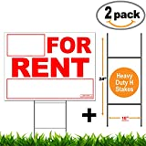 Vibe Ink 2 Pack Rent Yard Signs Double Sided Prints on 24'' x 18'' Corrugated Plastic Lawn Sign Include Heavy Duty H-Stakes Wire Stand