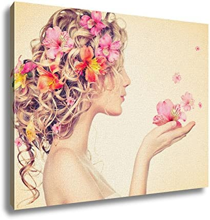 Ashley Canvas Beauty Girl Takes Beautiful Flower