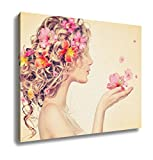Ashley Canvas Beauty Girl Takes Beautiful Flowers In Her Hands Blowing Flower Hairstyle With Wall Art Decor Stretched Gallery Wrap Giclee Print Ready to Hang Kitchen living room home office, 24x30