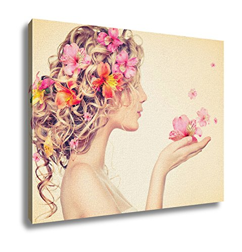 Ashley Canvas Beauty Girl Takes Beautiful Flowers In Her Hands Blowing Flower Hairstyle With Flowers Fantasy G 16x20