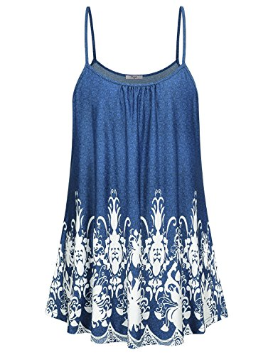 Bright Sleeveless Tee Tops - Cestyle Tunic Tank Tops for Women, Ladies Summer Printed Bright Flowy Sleeveless Leggings Tee Shirts Flattering Fit Strappy Camisoles Blue Large