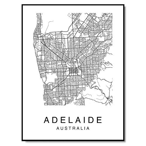 (Adelaide Map Wall Art Print Poster South Australia City Map Street 8x10 Black & White)