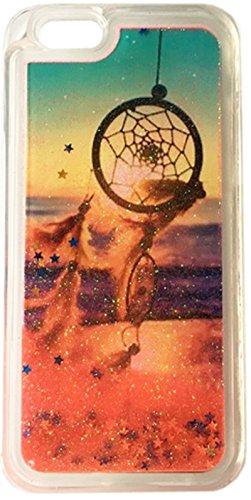 FUN CASE Traumfänger Dreamcatcher rot für Apple iPhone 7 4,7 Handy Cover Hülle Case Glitzer Sterne Flüssig Sternenstaub TPU