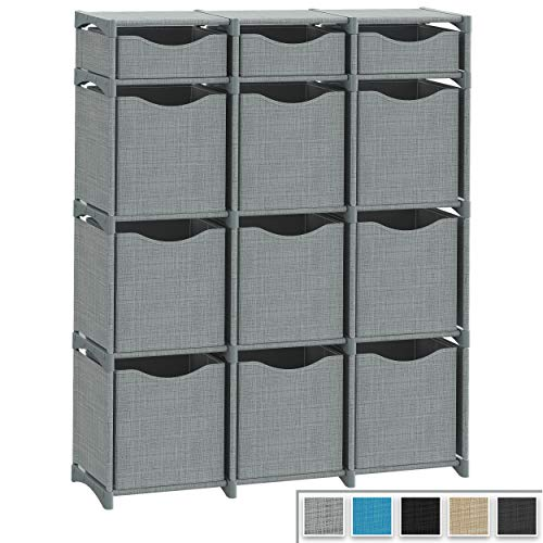 12 Cube Organizer | Set of Storage Cubes Included | DIY Closet Organizer Bins | Cube Organizers and Storage Shelves Unit | Closet Organizer for Bedroom, Playroom, Livingroom, Office, Dorm (Grey)