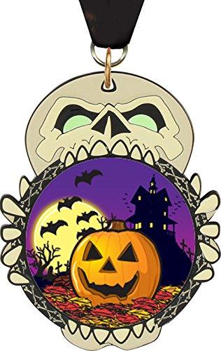 3.25 inch Halloween Full Color Glow in the Dark Enameled Skull Insert Medal (4)