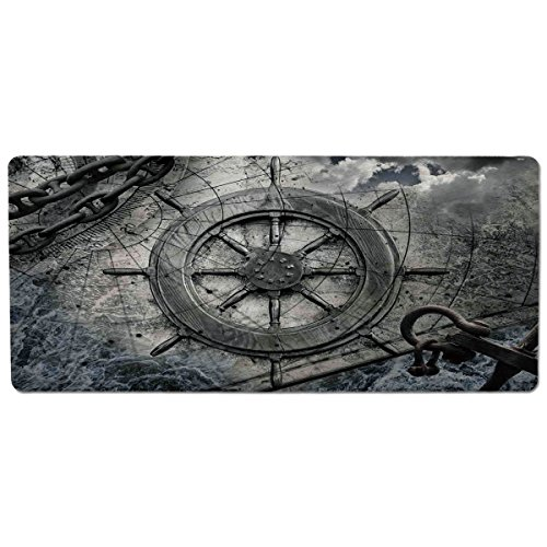 Food Chain Chart - Pet Mat for Food and Water,Ships Wheel Decor,Retro Navigation Equipment Illustration with Steering Wheel Charts Anchor Chains,Charcoal,Rectangle Non-Slip Rubber Mat for Dogs and Cats