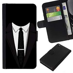 Be-Star la tarjeta de CršŠdito Slots PU Funda de cuero Monedero caso cubierta de piel Para HTC DESIRE 816 ( Suit Black Tie lšŠgendaire affaires Slogan )