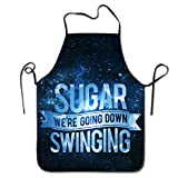 Unisex FOB Sugar Going Down Swinging Kitchen Cooking Grilling Apron Neck Straps Without Pockets Adjustable