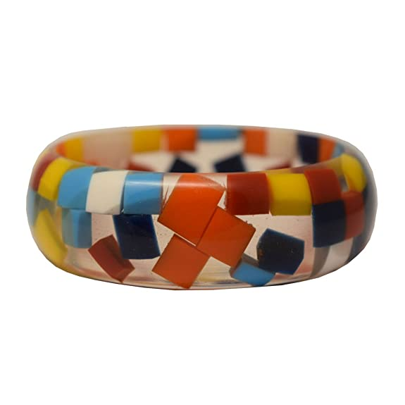 Vintage Style Jewelry, Retro Jewelry Hanto New York Acrylic/Lucite Bangle Bracelet Multi Color Gumdrop