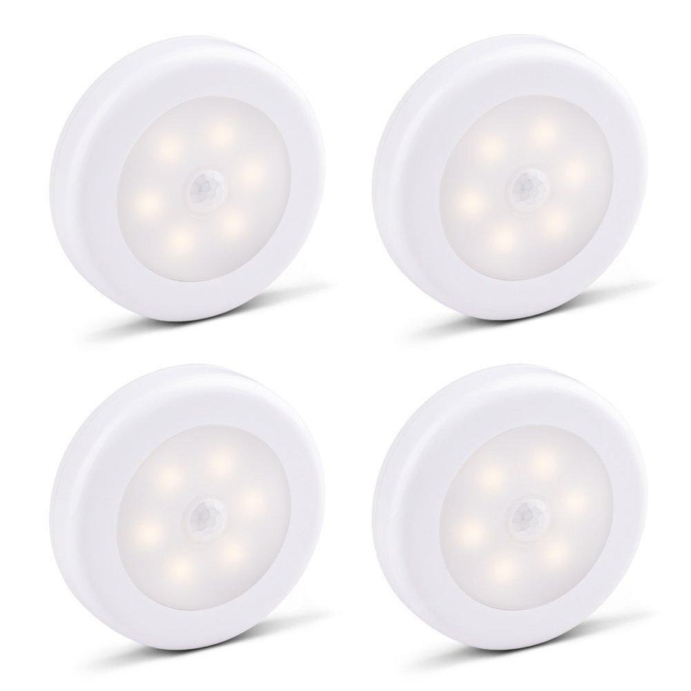 Samoleus 4 Stk LED Nachtlicht mit Bewegung aktivierte Licht, Bewegungs Licht Sensor batteriebetriebene LED-Nachtlicht Stick auf Flur, Wandschrank , Treppen, Badezimmer, Schlafzimmer, Küche, Wandlampe , Safe für Kinder, Senioren (Warmweiß-4er Pack) Küche Sa