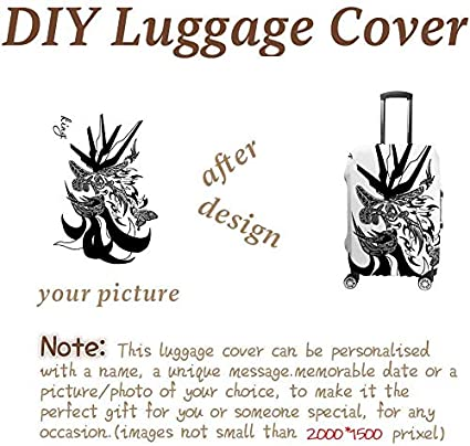 Fits 19-21 Inch Luggage Personalized Custom Luggage Cover with Your Image or Text,Suitcase Cover,Polyester Travel Luggage Cover,Suitable for any types luggage