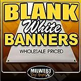 3'x8' Blank White Vinyl Banner - Grommets - 13oz - Milweb1