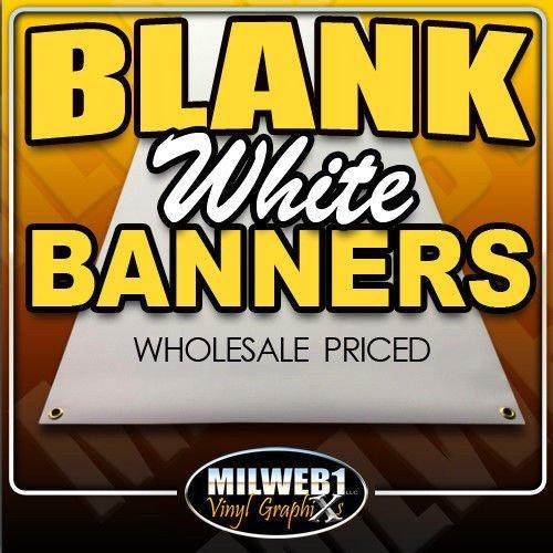 3'x8' Blank White Vinyl Banner - Grommets - 13oz - Milweb1 (13 Ounce Vinyl)