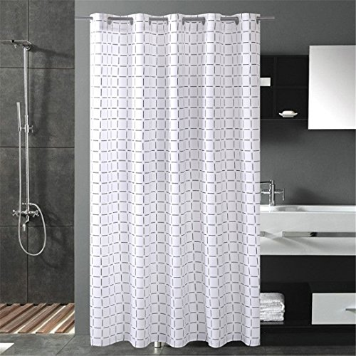 LUCKYHOUSEHOME Black And White Grid Polyester Fabric Water Repellent Mould Proof Thickening Bathroom Shower