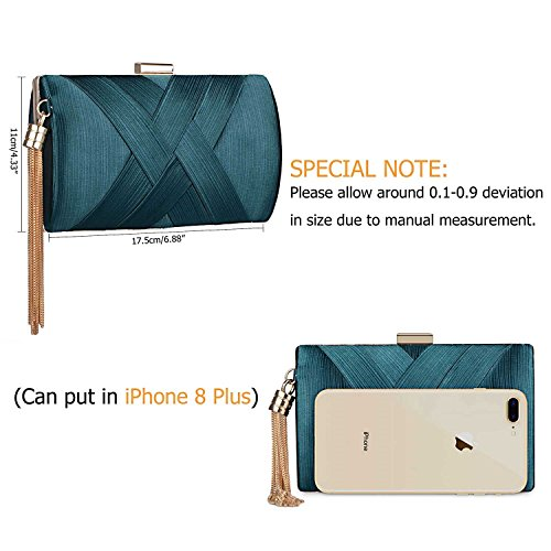 Spring Clutch Prom Night Wedding Purse Bag Evening Bride Party 2018 Darkgreen Tassel Out Elegant Women's for qYrPBxRwq