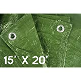 Waterproof tarps Tarpaulin Hanjet 15' x 20' 5-mil Thick Camping Tents Poly Tarp Army Green - Protect Your Tent, Flatbed, Firewood, or Roof