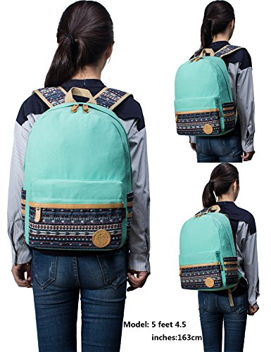 Leaper lässig leichtes canvas Laptop Schule Rucksack + Messenger Tasche + Stift Kuriertasche (Rosa, 3PCS) Lichtblau