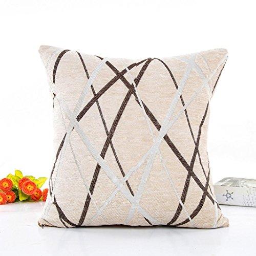 - DEESEE(TM)Chenille Plush Pillow Stripe Sofa Waist Throw Cushion Cover Home Decor Cushion Cover Case (Beige)