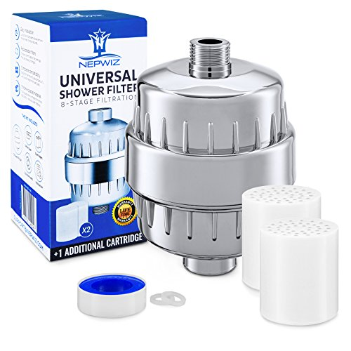 Universal Shower Filter with 2 Replacement Filter Cartridge + Teflon Tape – Hard Water Filter - Removes Chlorine and Fluoride - Compatibility with any Shower Head and Handheld Shower – NEPWIZ