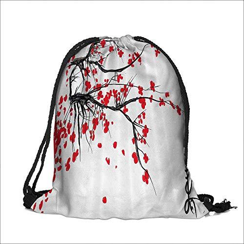 b2ea8131f4 Drawstring Cotton Linen Cloth Sakura Blossom Japanese Cherry Tree  Summertime Vintage Cultural Artwork Bathroom Craft Gift