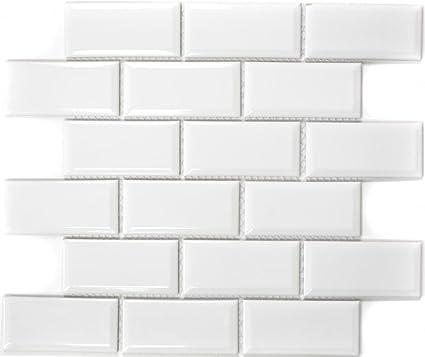 Metro Subway mosaico piastrelle in ceramica bianca per parete bagno ...