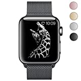 BRG Stainless Steel Mesh Milanese Loop with Adjustable Magnetic Closure Replacement Metal iWatch Band for Apple Watch Series 2 Series 1 Nike+ Sport and Edition 38mm Black