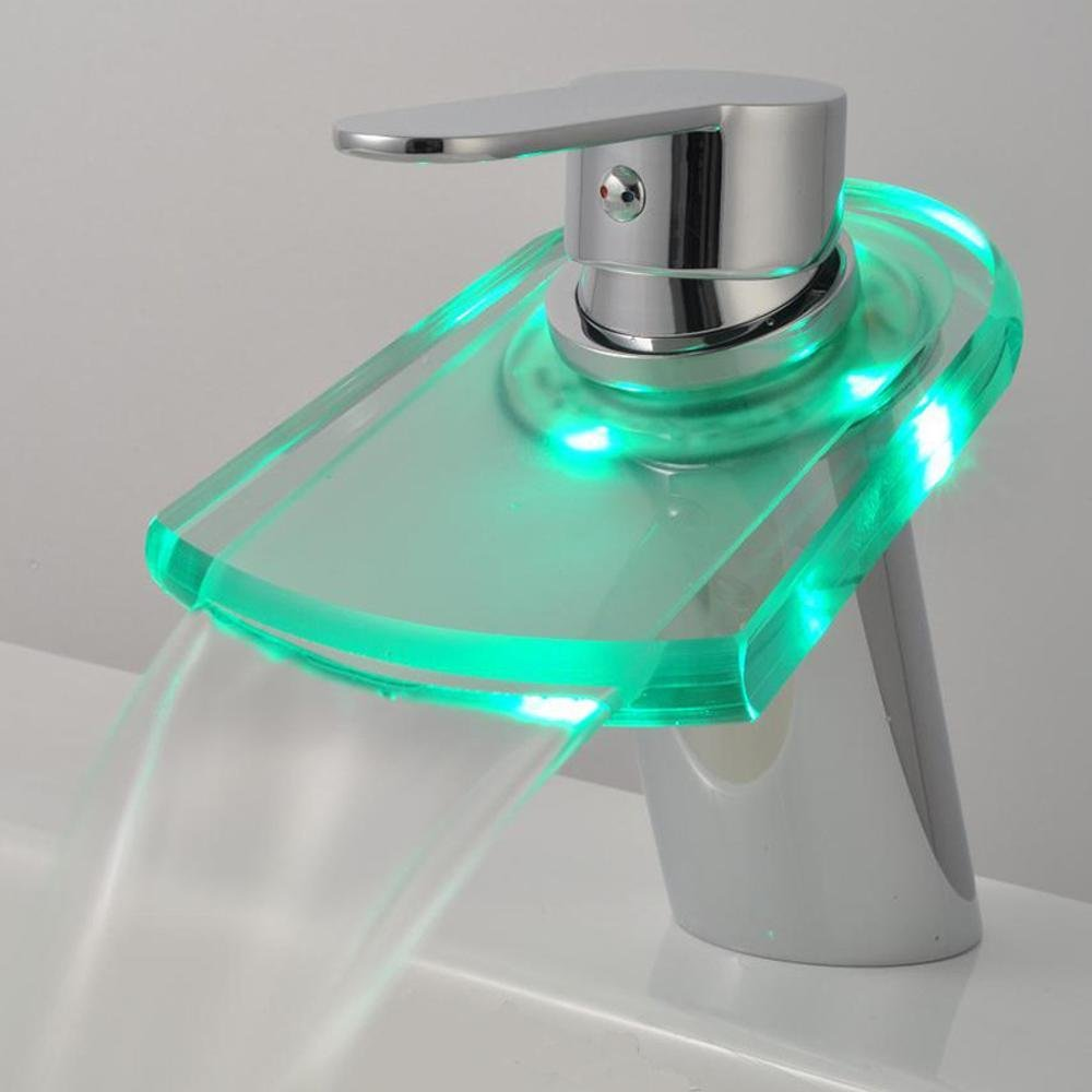LED Faucet Light LED Auto Color Changing Faucet Stylish Mixing Faucet- More Secure for in Bathroom Toilet Kitchen
