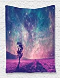 Ambesonne Outer Space Tapestry Galaxy Decor by, NASA Furnished Elements Artwork and Lonely Tree, Bedroom Living Kids Girls Boys Room Dorm Accessories Wall Hanging Tapestry, Navy Dark Magenta Black