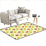 Rug,Diagonal Checkered Pattern with Apples and Slices Retro...