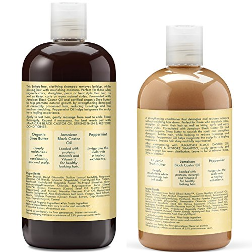 Shea Moisture  Strengthen, Grow & Restore Shampoo and Conditioner Set, Jamaican Black Castor Oil Combination Pack, 16.3 oz Shampoo & 13 oz. Conditioner by Shea Moisture (Image #3)