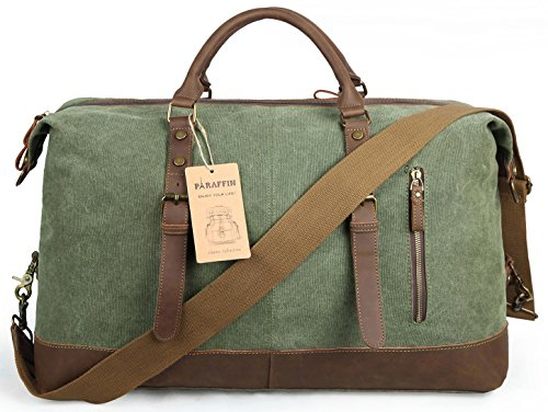 Oversized Travel Duffel Bag Canvas Leather Trim Overnight Bag Weekend Bag for Men and Women by Paraffin (Image #1)