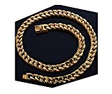 Gold Cuban Link Chain Necklace for Men Real 14MM 24K Karat Diamond Cut Heavy w Solid Thick Clasp US MADE (22)