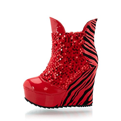 premium Wedges Style Sequins Casual Stripes Boots Round PU toe Heels 11CM Best Shoes High red Women's 4U Ankle aXt6ft