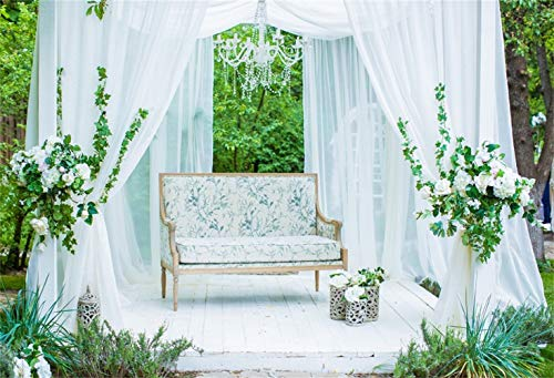 (Laeacco Outdoor Wedding Shoot Backdrop 10x6.5ft Vinyl White Curtain Pavilion Crystal Droplight Floral Bench Flowers Carved Vases Grassland Photography Background Bride Groom Portrait Shoot)