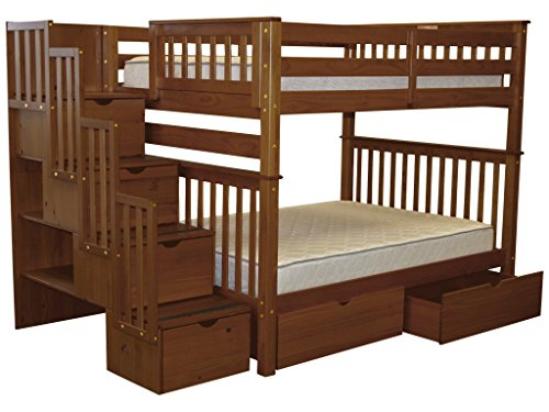 Bedz King Stairway Bunk Beds Full over Full with 4 Drawers in the Steps and 2 Under Bed Drawers Espresso
