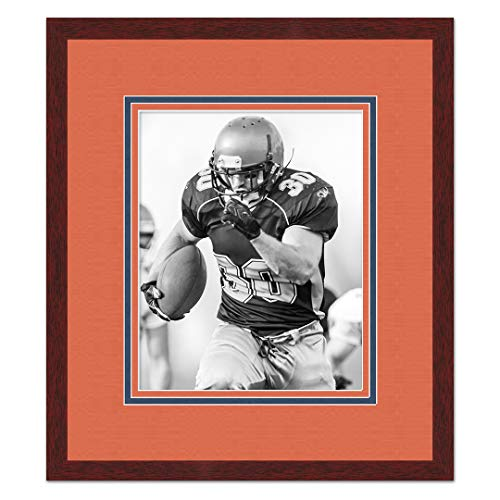 Sports Frames Auburn University Black Wood Frame with Tigers Triple Mat Colors - Made to Display 8