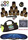 Speed Stacks Custom Combo Set - The Works: 12 BLACK FLAME 4'' Cups, Cup Keeper, Quick Release Stem, Pro Timer, Gen 3 Mat, 6 Snap Tops, Gear Bag + FREE Bonus: Active Energy Power Balance Necklace $49 Free