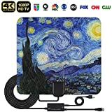 HD Digital TV Antenna, QRose Indoor Digital HDTV Antennas Amplified Signal Booster Long 60-80 Miles Range Support 4K HD VHF UHF Freeview TV Channels with 16.4ft Coax Cable