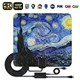 HD Digital TV Antenna, QRose Indoor Digital HDTV Antennas Amplified Signal Booster Long 60-80 Miles Range Support 4K HD VHF UHF Freeview TV Channels with 16.4ft Coax Cable (Starry Night)