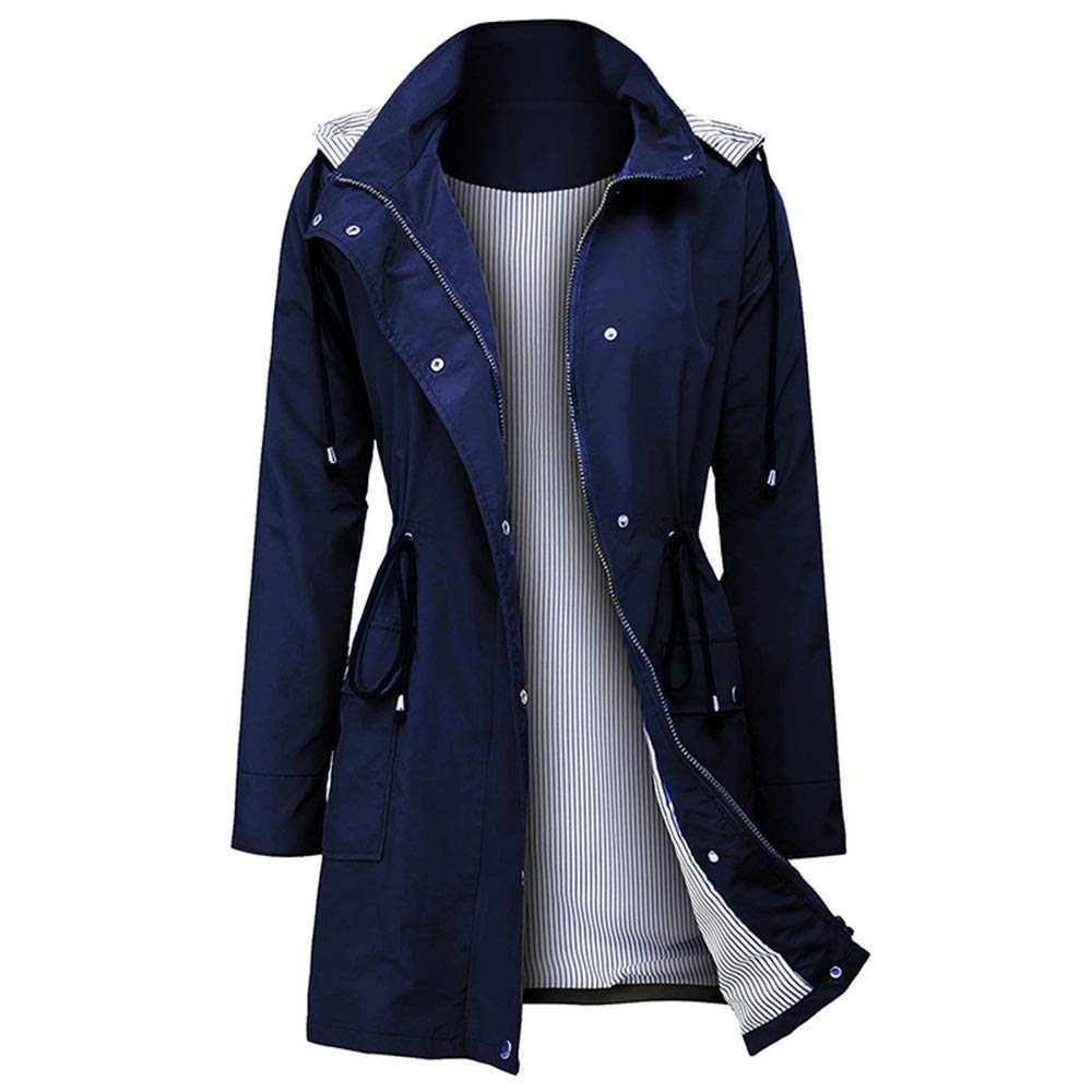 Arthas Women Rain Jacket Waterproof Active Outdoor Trench Raincoat with Hooded Lightweight Blue by Arthas