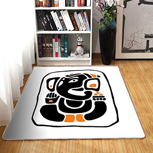 Rubber 6760 (Rug,FloorMatRug,Ethnic,AreaRug,Meditating Figure in Lotus Pose Religious Figure from South Asian Folklore,Home mat5'8