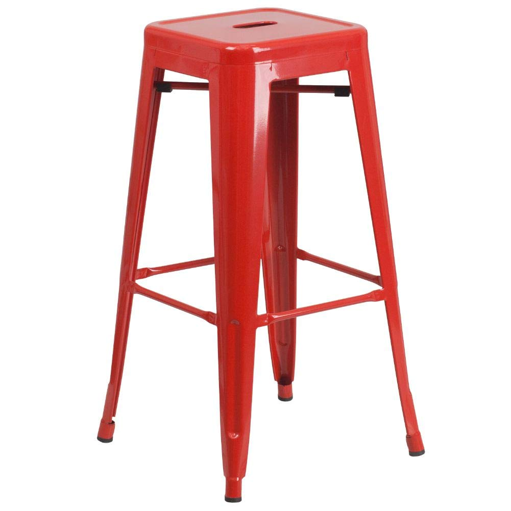 """Flash Furniture Commercial Grade 30"""" High Backless Red Metal Indoor-Outdoor BarStool with Square Seat"""