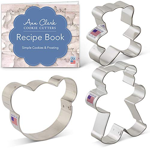 Teddy Bear Cookie Cutter Set with Recipe Booklet - 3 piece - Bear Face and Teddy Bears - Ann Clark - USA Made Steel ()