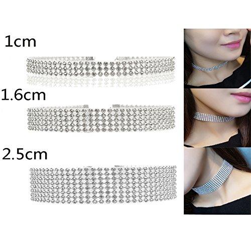 3 12Row Rhinestone Crystal Choker Necklace
