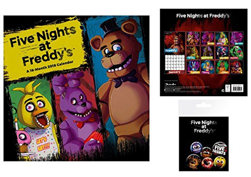 Set: Five Nights at Freddy's, Let's Eat, Official Calendar 2018 (12x12 inches) and 1x Badge Pack (6x4 inches) -