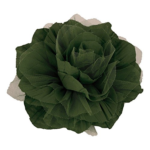 StylesILove Endless Fun Fabric Tulle Flower Corsage Brooch Pin - 6-Inch (olive)
