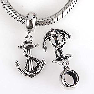 Sailor's Anchor Charm Sterling Silver Sea Sailing Charm USN Navy Charm for Bracelet