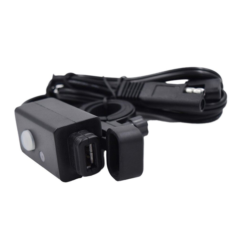 WINOMO Motorcycle USB Charger Adapter 2.1A with SAE Quick Disconnect Button Switch