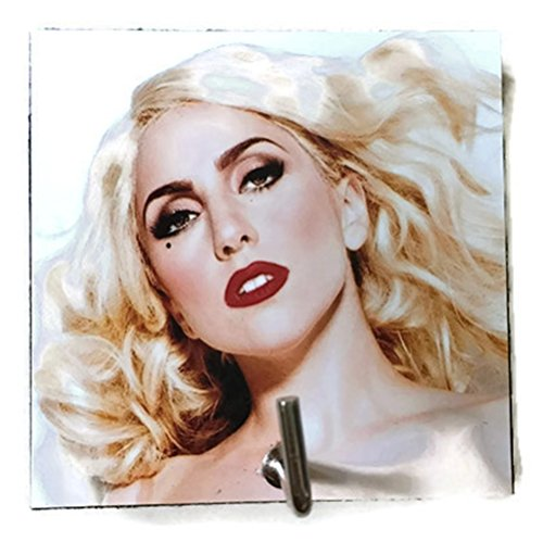 [Agility Bathroom Wall Hanger Hat Bag Key Adhesive Wood Hook Vintage Lady Gaga's Photo] (Lady Gaga Born This Way Wig)